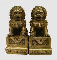 foo lion statue china brass folk fengshui foo fu dog guardion door lion