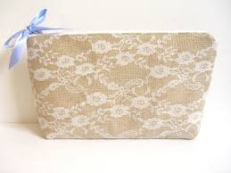 Bridal Makeup Bags Burlap And Lace Clutch Burlap Makeup Bag Bridal Bag Country