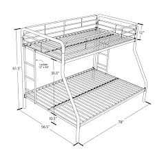 dhp furniture twin over full bunk bed twin mattress dimensions