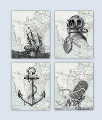 octopus decor nautical sea life art sea creature prints seafan nursery