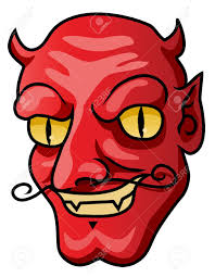 a cartoon halloween demon head or mask royalty free cliparts