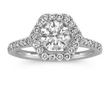 white gold halo engagement rings hexagon halo engagement ring in 14k white gold