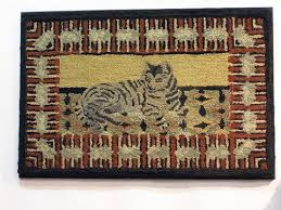 Primitive Hooked Rugs Late 19th C Hooked Rug With Cat