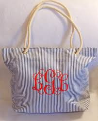 personalized bags for bridesmaids monogrammed bag monogrammed tote bag personalized bag seersucker