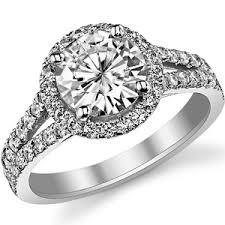 circle engagement ring with halo brilliant split shank halo moissanite engagement ring