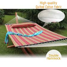 quilted fabric double hammock with pillow heavy duty spreader bar