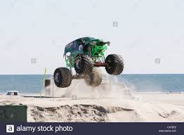 monster truck show in nj grave digger monster truck at show competition on the beach stock