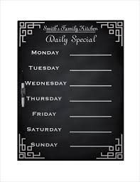 simple menu template free 20 weekly menu templates free sle exle format