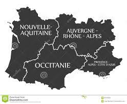 Map France by Nouvelle Aquitaine Occitanie Auvergne Provence Map France