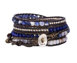 wrap bracelet images Chan luu blue agate and silver bead wrap bracelet in designers jpg