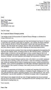 sample cover letter for finance position
