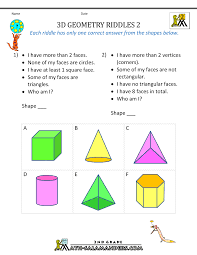 4th Grade Math Worksheets With Answers Free Geometry Worksheets 2nd Grade Geometry Riddles