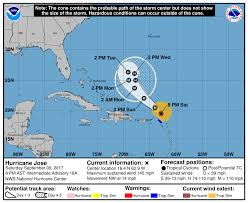 national weather forecast map hurricane jose expected to weaken as it pulls away from islands in