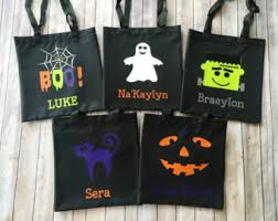 personalized trick or treat bags canvas bag etsy