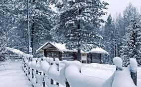 cabin in snow wallpaper 9577