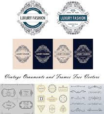 vintage border ornaments and logos vector free