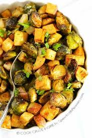 Potatoes As Main Dish - roasted potatoes and brussels sprouts