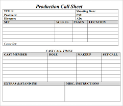 Call Sheet Template Sle Call Sheet Balance Sheet Template For Excel The