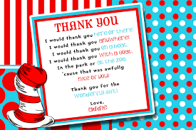 hat seuss thing and thank you card birthday party invitation