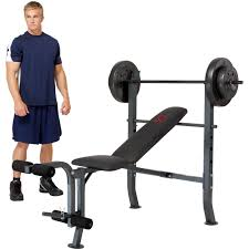 weight and bench set marcy olympic bench with 80 lb weight set strength training