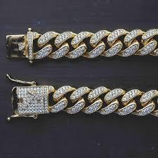 cuban link necklace images 10mm diamond cuban link necklace bracelet bundle in yellow gold jpg