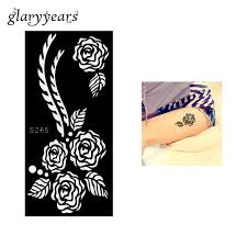 1 piece black color rose henna tattoo stencil draw on beauty woman