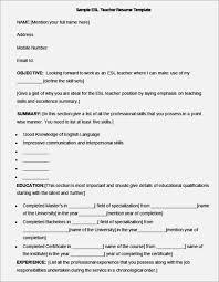 Objective For English Teacher Resume Esl Teacher Resume Examples Esl English As A Second Language