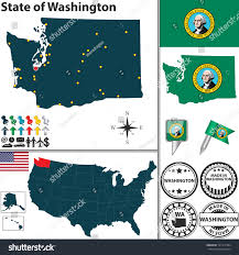Washington State Detailed Map Stock by Vector Set Washington State Flag Icons Stock Vector 191411384