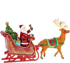 Lighted Santa Sleigh Reindeer Set by Mr Christmas Animated Lit Revolving Santa U0026 Sleigh Tree Topper