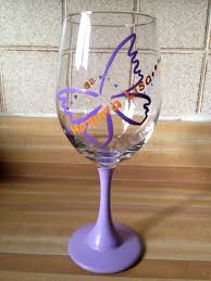lavender and purple painted retirement wine glass with custom