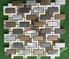 3d mosaic wall tile backsplash smmt107 stainless steel metallic