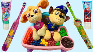 paw patrol skye chases baby puppies eat skittles brush teeth