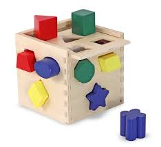 melissa u0026 doug shape sorting cube classic wooden toy with 12