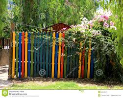 garden gate flowers paint garden gate stock photo image 49229979