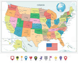 Political Map Of Canada Detailed Political Map Of The Usa And Flat Map Pointers Stock