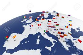 Map Of Europe With Countries by 3d Render Of Europe Map With Countries Flags Stock Photo Picture