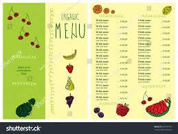 restaurant menu design organic green menu stock vector 339718706