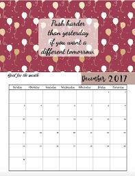 free printable 2017 motivational monthly calendar