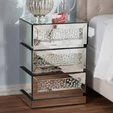 baxton studio azura 3 drawer silver mirrored nightstand 28862 6735