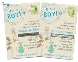 stork boy baby shower scratch off invitation with custom text for