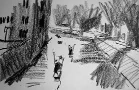 a small sketch of punting on the river in cambridge