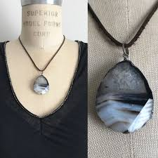 real stone necklace images Jewelry real stone pendant necklace with leather strap poshmark jpg