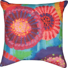 brightly colored starburst floral print in outdoor throw pillow 18