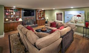 u shaped couch family room traditional with basement bookshelves