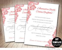 pink lace wedding invitation template diy instant download