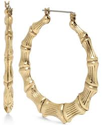 earrings image betsey johnson gold tone bamboo style hoop earrings jewelry