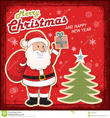 vintage card with santa claus royalty free stock images