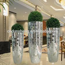 Floor Decorative Vases Wholesale Wedding Large Floor Standing Silver Mirrored Mosaic