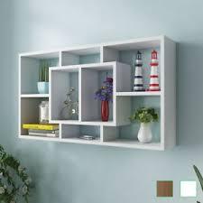 wall display vidaxl floating wall display shelf 8 compartments hanging white oak
