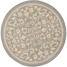 6 X 6 Round Area Rugs by Safavieh Courtyard Gray Natural 6 Ft 7 In X 6 Ft 7 In Indoor